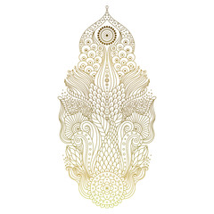 Golden mehendi hand drawn decorative object with floral elements. Ethnic asian ornament isolated on white background for tattoo, yoga, or clothes design in boho style. Vector art.