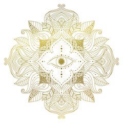Hand drawn golden mandala with eye inside flower, and leaves in boho style. Isolated decorative ethnic asian element for a mehndi tattoo, stickers, yoga or clothes design. Vector art.