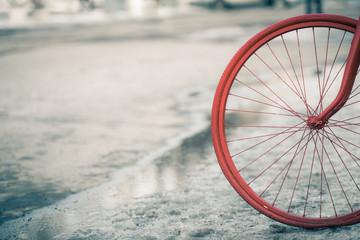 wheel retro bike in the snow