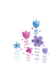 Abstract flowers, isolated, watercolor illustration, nursery art, sweet, cute, art