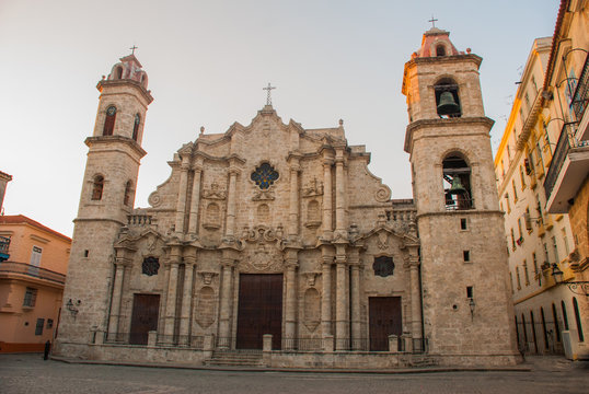 Cathedral of St. Christopher in Old Havana on the square of Cienaga in the evening. Cuba
