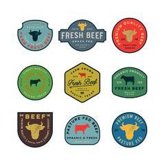 set of premium fresh beef labels. vector illustration