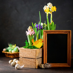 Spring flowers and quail eggs