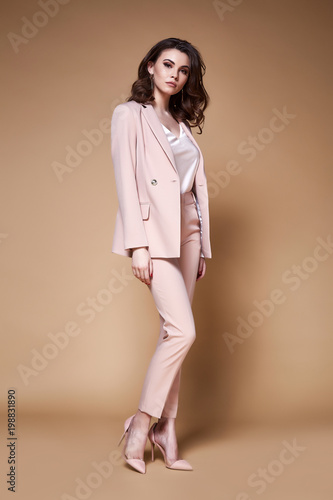 c586944c00f746 Sexy beautiful business woman lady boss CEO manager makeup long curly hair  brunette wear clothes office dress code suit jacket pants uniform work or  date ...