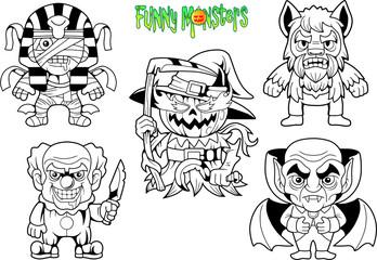 cartoon cute monsters, set of vector images