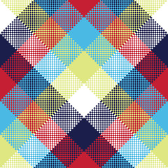Colored check pixel tablecloth seamless pattern