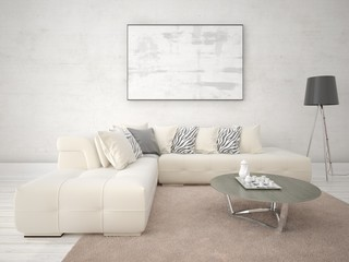 Mock up a stylish light living room with a fashionable corner sofa and hipster background.