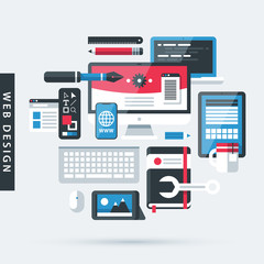 Modern illustration about web design in flat style on gray background. Drawing tools, computer, pictures, notebook