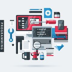 Modern illustration about programming in flat design style on gray background. Desktop computer, laptop, books, tools