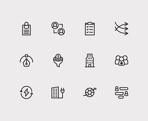 Economy icons set. Business marketing and economy icons with graphic design, compliance and conversion funnel. Set of elements including organization for web app logo UI design.