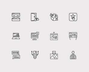 Optimization icons set. SEO monitoring and optimization icons with plugin, report and link building. Set of elements including snapshot for web app logo UI design.