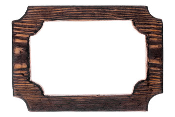 Beautiful one-piece wooden carved frame, isolated on white background.