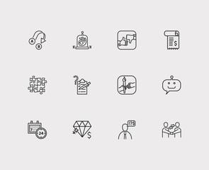 24/7 and support icon line set with export, teamwork and client. Set of support icons including gesture for web app logo UI design.