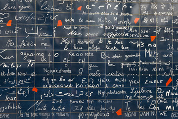 The wall of love. Wall in Paris with 'I love you' written in all the major international languages.