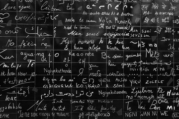 The wall of love. Wall in Paris with 'I love you' written in all the major international languages....