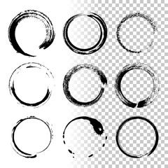 Round grunge frames isolated on transparent background. Vector design element set.
