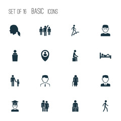People icons set with sitting, employee, human and other father child