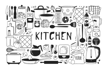 Hand drawn illustration cooking tools and dishes. Creative ink art work. Actual vector drawing. Kitchen set