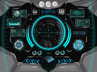 Sci-Fi Futuristic Glowing HUD Display. Vitrual Reality Technology Screen. View from the cockpit spaceship. Vitrual Reality in HUD UI style.Modern Technology elements. Future Control Center Display