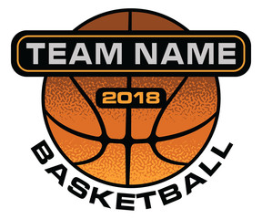 Basketball Textured Design is an illustration of a stylized flat or spot color basketball design with space for your team name and year. Uses five colors.