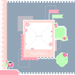 Lovely and romantic scrapbook layout with polaroid template