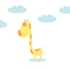 Cute Giraffe baby. Baby shower card. Vector illustration.