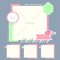 Cute and romantic photo template (4 space)