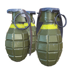 Hand bombs frag grenade green metal with scratches and round pin over. 3d render isolated on white.