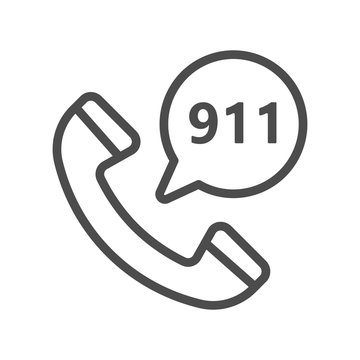 Emergency calling service filled outline icon, line vector sign, linear colorful pictogram isolated on white. Phone and speech bubble with 911 number inside bubble, logo illustration. Pixel perfect