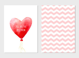 Greeting vector cards for Mother's Day. Watercolor red heart with text. Red balloon and geometric pattern. Romantic vector illustration.You are the best Mom text. Happy Mother's day template.