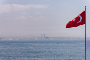 Turkish National Flag waiving on the wind