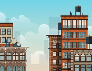 City rooftops illustration