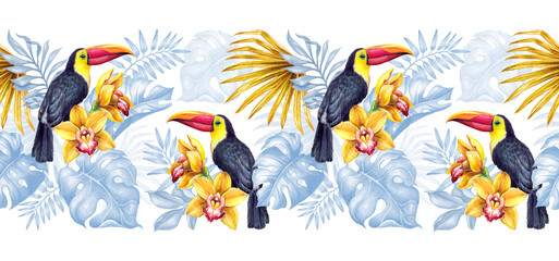 watercolor seamless botanical background, horizontal border, hand painted toucan in the jungle, decorative palm leaves, paradise bird, tropical nature
