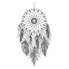 Black and white dreamcatcher
