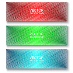 A set of colored banners - red,green,blue.Three banners in the form of a white sticker sketched by a colored pen.A set of banners for business and advertising.Vector label,sticker,ribbons,tag,buttons.