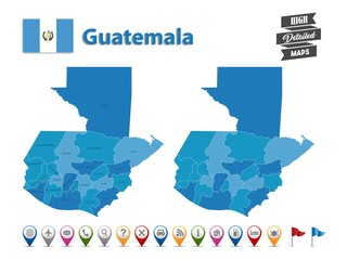 Guatemala - High Detailed Map With GPS Icon Collection