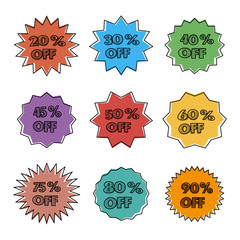 Bright cartoon labels, vector illustration.
