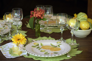 Detail of table decorated for special event