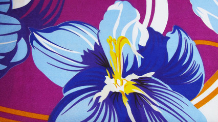 Beautiful blue floral fabric background.