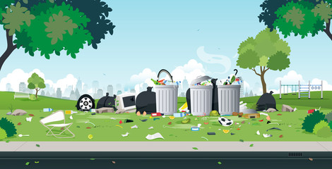 The garbage that was dumped in the roadside park. Wall mural
