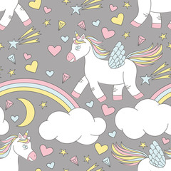 Vector seamless pattern of cute unicorn on rainbow with stars and moon. Wallpaper with  unicorn and miracle elements