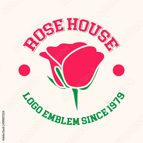 Tremendous Rose House Flowers Logo Emblem Stock Image And Royalty Free Home Interior And Landscaping Pimpapssignezvosmurscom