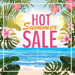 Advertisement about the summer sale on background with beautiful tropical sea beach view, flowers, leaves. Vector illustration.