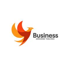 creative bird vector logo. red color modern stylized unusual bird shape