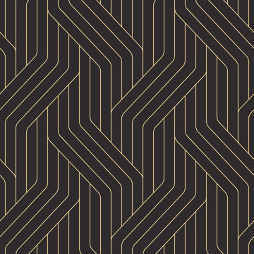 Seamless black and gold ornate complex art deco rounded lines pattern vector