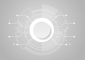 Abstract technology concept, white circle button and futuristic circuit board on white background