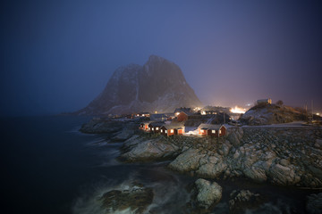 Hamnoy Village in the mist of starry night, Lofoten Island,Norway