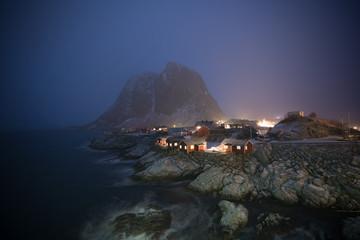 Hamnoy Village in the mist of starry night, Lofoten Island,Norway