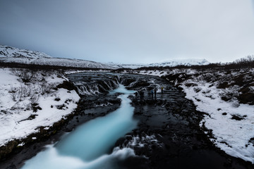 Top view of Bruarfoss Waterfall one of amazing landmark in Iceland. Its looks like marble pattern.Abstract concept for graphic designer inspiration
