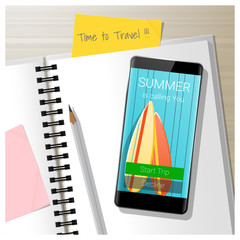 Summer is calling you, leaving the office for vacation, season concept background , vector , illustration